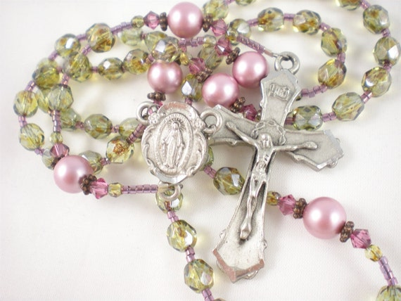 Olive Green and Raspberry Catholic Rosary
