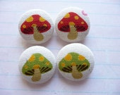 4 red and green mushroom handmade fabric covered buttons 7/8  inches