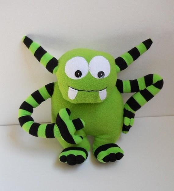sale, sock monster doll, cute monster plush, stuffed fleece monster doll, alien monster plush, green strips,  called Zippa
