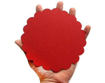 Scalloped Circle Die Cut, Red Scalloped circles (5.0 inches) for banner Textured Cardstock A100