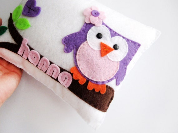 Personalized Owl pillow, adorable personalized Eco friendly children pillow, Name up to 6 letters