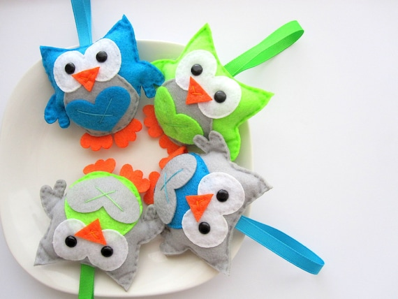4 Felt Christmas Ornaments, 4 Owl Christmas ornaments