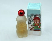 Vintage frosted Glass Avon Bottle Song of Christmas Sweet Honesty Cologne Vintage 1980 Collectible, Red metallic top, Memories