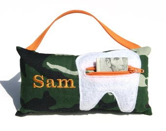 Green Camoflage Personalized Tooth Fairy Pillow