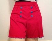 AHOY SAILOR  Vintage style high waisted scalloped hem nautical themed shorts