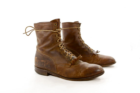Distressed for Success: Coffee Brown Lace up Roper Boots by Justin. Killer vintage lacers, Seasonless stand-bys - Mens size 12 EE