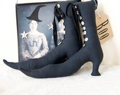 Folk Art Primitive Witch boots for Halloween