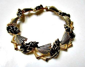 Vintage Gold Bracelet Black Enamel Hop Flowers Bracelet Vintage Black Under 20 Jewelry Gift for Her