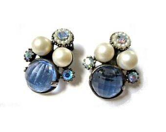 Selro Earrings Blue Checkerboard Faux Pearl Clip
