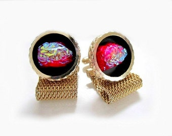 Lava Rock Cuff links Vintage Glowing Red Glass Gift for Him
