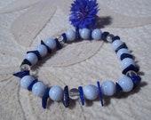 Guidance-Life Purpose, Healing Stones Bracelet, Blue Lace Agate, Quartz, Lapis Lazuli, Gemstone Synergy