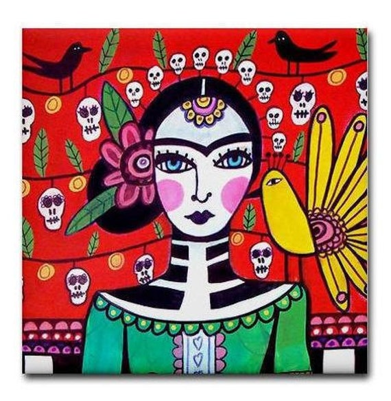 Day of the Dead Art Ceramic Tile Frida Kahlo Mexican Folk Art  Sugar Skulls Coaster