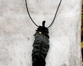 Large Black Leather Feather Necklace. Raven. Crow. Handmade. One of a kind.