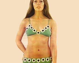 Vintage Crochet Daisy Bikini Pattern PDF 417 from WonkyZebra