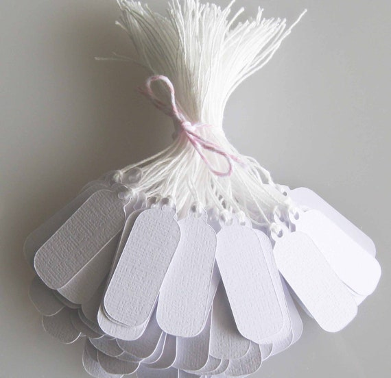Custom 100 White Tags Textured Jewelry Tags