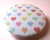 Pinback button : tiny pixelated hearts