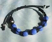 Blue Glass Bead Shambala Bracelet