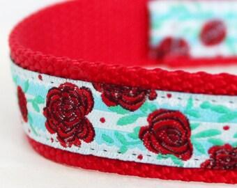 Red Roses Dog Collar, Shabby Chic Pet Collar, Ribbon Adjustable Collar
