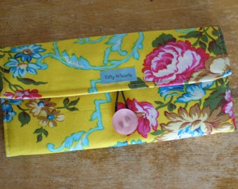 Yellow and Pink Fabric Cottage Chic Boho - Handmade Womens Wallet - Vegan Wallet