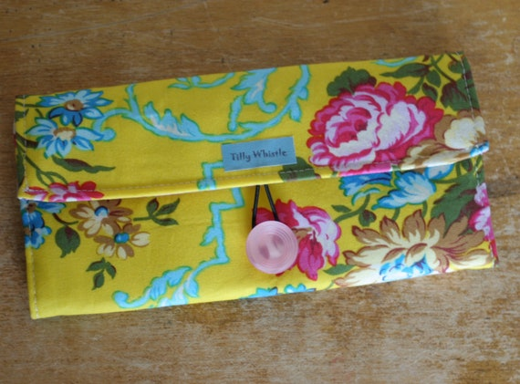 Handmade Wallet  Womens Wallet  Vegan Wallet  Bright Yellow and Pink Fabric - Ready to Ship