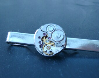 Watch Movement Tie Bar tie bar with 17 Jewel swiss made watch movement ideal gift for a wedding, anniversary or birthday