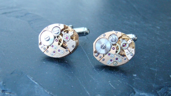 Stunning rose gold  oval watch movement cufflinks ideal gift for a wedding, birthday or anniversary