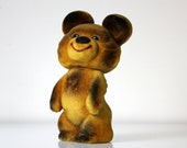 Russian flocking toy mascot from USSR, Olympic Games Moscow 1980, MISHA bear