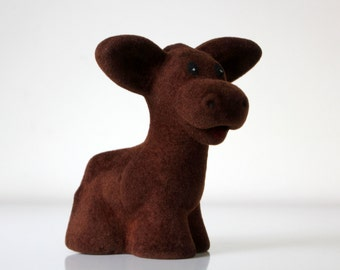 Adorable Russian flocking toy CALF, made in USSR 70s