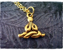 Gold Meditating Man Necklace - Antique Gold Pewter Meditating Man Charm on a Delicate 18 Inch Gold Plated Cable Chain