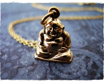 Gold Laughing Buddha Necklace - Bronze Buddha Charm on a Delicate 14kt Gold Filled Cable Chain or Charm Only