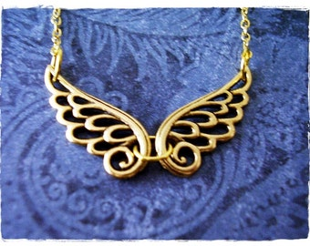 Gold Filigree Angel Wings Necklace - Antique Gold Pewter Filigree Angel Wings Charm on a Delicate Gold Plated Cable Chain or Charms Only