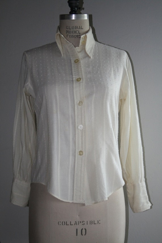 Vintage Cream Off White Antique Steampunk Victorian Style Blouse