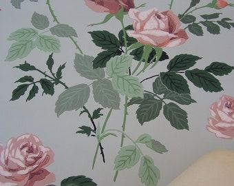 Vintage Wallpaper c1940s Pink Roses Romantic Home Decor Shabby Cottage Scrapbooking Repurpose DIY SVFteam Wall Art Wedding Backdrop