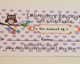 Gift Certificate, Custom Gift Card, Great Baby Shower Gift