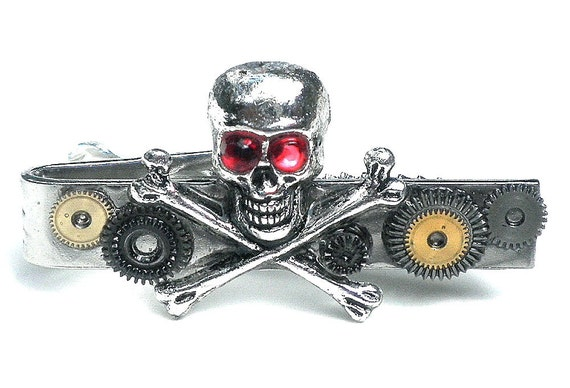 On Sale Skull and Bones Steampunk Tie Bar