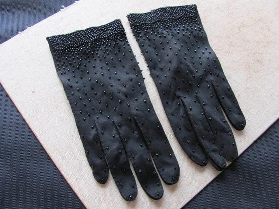 Vintage Beaded Black Nylon Ladies Wrist Gloves