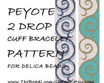 Peyote 2 Drop Cuff Bracelet Pattern Vol.25 - PDF File PATTERN
