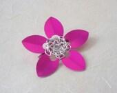 Modern Flower Brooch.  Fuchsia Pink.