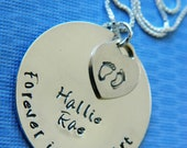 Forever in my Heart with name & date -- In remembrance of baby, miscarriage, stillborn, loss --Hand stamped necklace