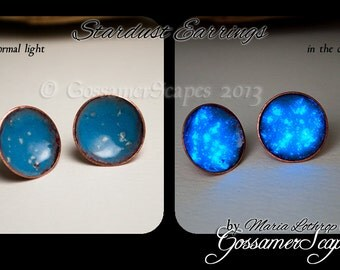 Post earrings enamel Glow in the dark robins egg blue Stardust medium