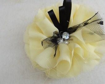 Cute chiffon  flower applique yellow  color
