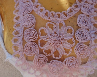 Cute  embroidered flower  applique pink   color