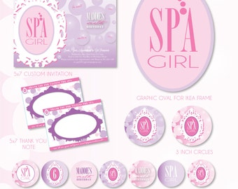 SPA Girl Custom Printable Party set -- SALE!