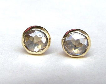 GOLD STUD Similar diamond stud- Engagement earrings White Topaz  14k Gold earrings Gold stud earrings  5mm Mother day earrings