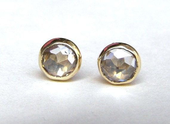 Similar diamond stud- Engagement earrings White Topaz earrings Recycled 14k Gold earrings Gold stud earrings  5mm