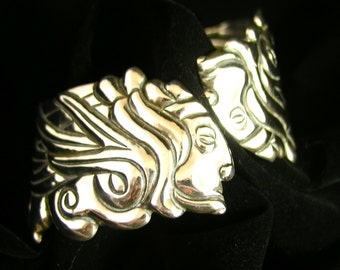 Vintage Los Castillo Pre-Columbian Mayan Priest Sterling Silver Spring Cuff Bracelet - Free USA Shipping