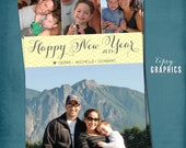 Simple Chevron. Happy New Year.  Multi Photo Holiday Card.  Any colors and text, for 4 photos. By Tipsy Graphics