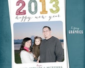 Casual & Simple Happy New Year Photo Card by Tipsy Graphics