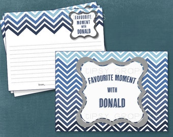Gradient Chevron Advice & Well Wishes. Funny Stories.  Favorite Memory. Printable Cards by Tipsy Graphics