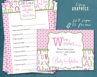 Alphabet ABC Baby Wishes. Madlibs. W is for Wishes.   By Tipsy Graphics. AdLib. Baby Wishes. Baby Statistics. Printable Cards, any Colors.